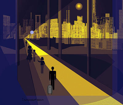 172 -  Nightwalking To The Golden City  Art Print by Irmgard Schoendorf Welch