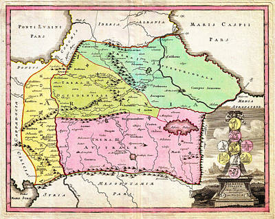 Including Painting - 1720 Weigel Map Of The Caucuses Including Armenia Georgia And Azerbaijan Geographicus Armenia Weigel by MotionAge Designs