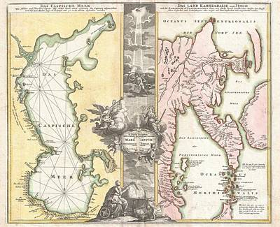 1725 Homann Map Of The Caspian Sea And Kamchatka Art Print by Paul Fearn