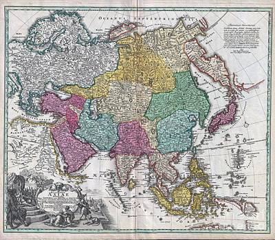 Further Traces Photograph - 1730 C Homann Map Of Asia  by Paul Fearn