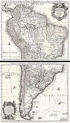 Pierced Ears Photograph - 1730 Covens And Mortier Map Of South America by Paul Fearn