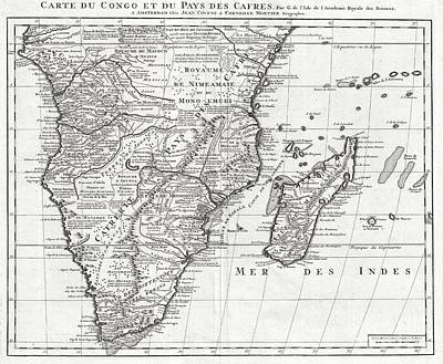 A Good Year Photograph - 1730 Covens And Mortier Map Of Southern Africa by Paul Fearn