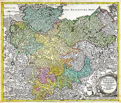 Lubeck Painting - 1730 Homann Map Of Lower Saxond Berlin Lubeck Hamburg Bremen Geographicus Saxoniaeinferioris Homann  by MotionAge Designs