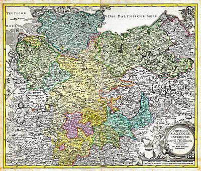 1730 Painting - 1730 Homann Map Of Lower Saxond Berlin Lubeck Hamburg Bremen Geographicus Saxoniaeinferioris Homann  by MotionAge Designs