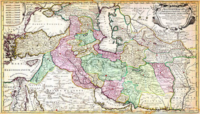 Iraq Painting - 1730 Ottens Map Of Persia Iran Iraq Turkey Geographicus Regnumpersicum Ottens 1730 by MotionAge Designs