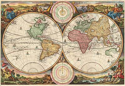 1730 Stoopendaal Map Of The World In Two Hemispheres  Art Print by Paul Fearn