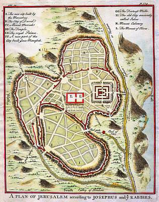 1730 Painting - 1730 Street Map Or Plan Of Jerusalem Geographicus Jerusalem Uk 1730 by MotionAge Designs