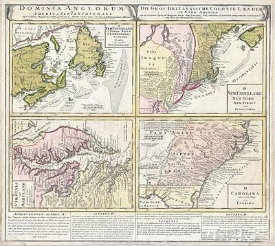 1737 Homann Heirs Map Of New England Georgia And Carolina And Virginia And Maryland Art Print by Paul Fearn