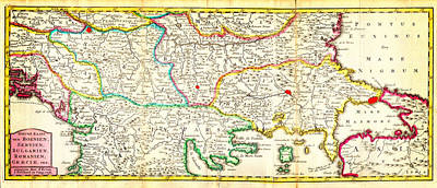 Balkan Painting - 1738 Ratelband Map Of The Balkans Bosnia Serbia Bulgaria Rumania Geographicus Balkans Lafeuille 1738 by MotionAge Designs