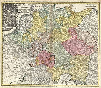 1740 Homann Map Of The Holy Roman Empire Print by Paul Fearn
