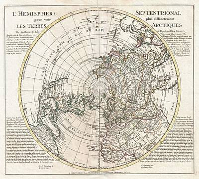 1741 Covens And Mortier Map Of The Northern Hemisphere  North Pole Arctic Print by Paul Fearn