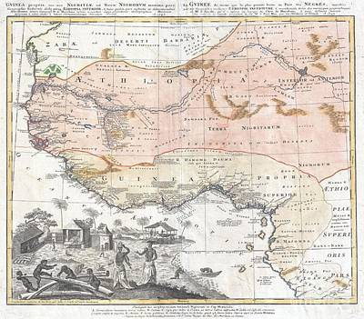 1743 Homann Heirs Map Of West Africa Or Guinea Art Print