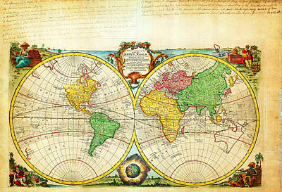 1744 Bowen Map Of The World In Hemispheres Geographicus World Bowen 1744 Art Print by MotionAge Designs