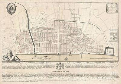 1744 Wren Map Of London Art Print by Paul Fearn