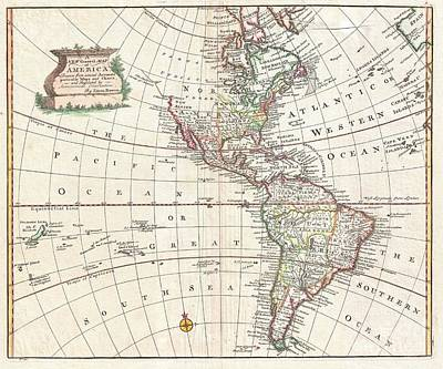 World In Corruption Photograph - 1747 Bowen Map Of North America And South America by Paul Fearn