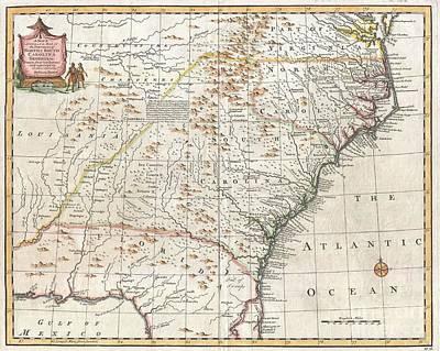 1747 Bowen Map Of The Southeastern United States Carolina Georgia Florida Art Print by Paul Fearn