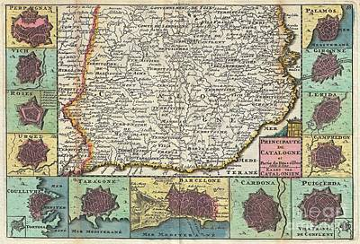 1747 La Feuille Map Of Catalonia Spain Art Print