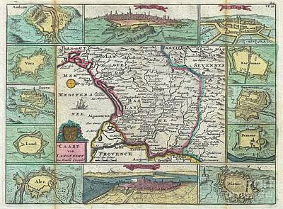 1747 La Feuille Map Of Languedoc France Art Print by Paul Fearn