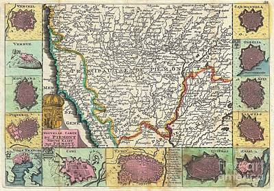 Asti Photograph - 1747 La Feuille Map Of Piedmont Italy by Paul Fearn