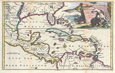 1747 Ruyter Map Of Florida Mexico And The West Indies Art Print by Paul Fearn