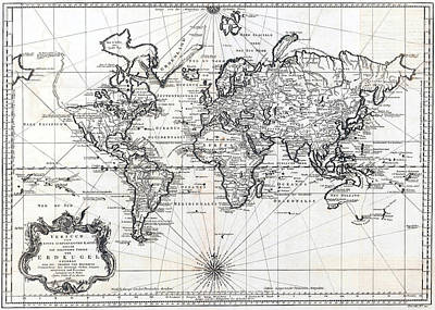 Photograph - 1748 Antique World Map Versuch Von Einer Kurzgefassten Karte  by Karon Melillo DeVega