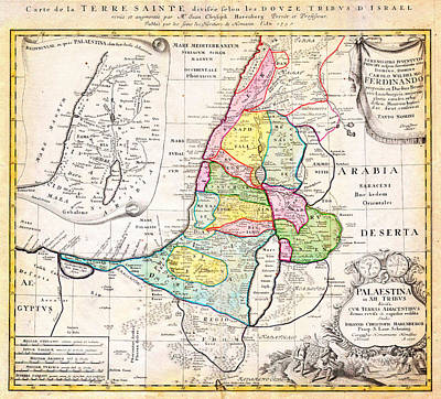 Palestine Drawing - 1750 Homann Heirs Map Of Israel Palestine Holy Land 12 Tribes Geographicus Palestina Homannheirs 175 by MotionAge Designs