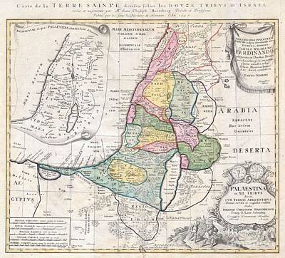 1750 Homann Heirs Map Of Israel  Palestine Holy Land  Art Print by Paul Fearn