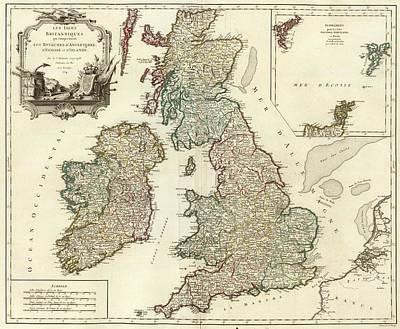 1754 British Isles Vintage Map Print Art Print