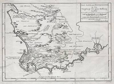 1757 Bellin Map Of South Africa And The Cape Of Good Hope Print by Paul Fearn