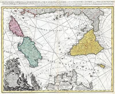 1762 Homann Heirs Map Of Sicily Sardenia Corsica And Malta Art Print by Paul Fearn