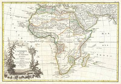 1762 Janvier Map Of Africa Art Print by Paul Fearn