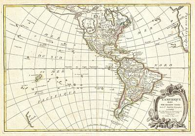 1762 Janvier Map Of North America And South America  Art Print by Paul Fearn