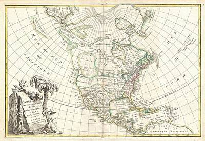 1762 Janvier Map Of North America  Art Print by Paul Fearn