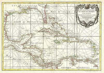 1762 Zannoni Map Of Central America And The West Indies Art Print