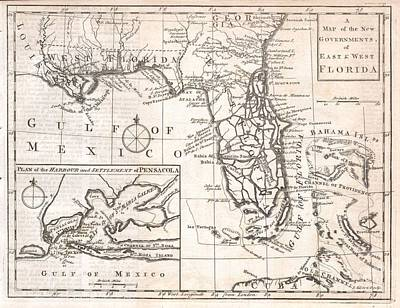 An American In Paris Photograph - 1763 Gibson Map Of East And West Florida by Paul Fearn