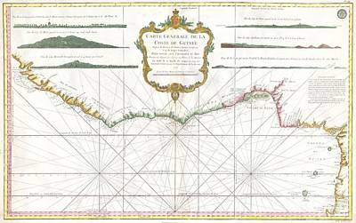 Dots And Lines Photograph - 1765 Bonne Map Of West Africa The Gulf Of Guinea And Benin by Paul Fearn