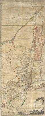 1768 Holland  Jeffreys Map Of New York And New Jersey  Art Print by Paul Fearn
