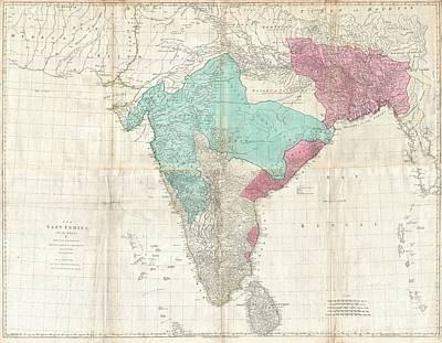1768 Jeffreys Wall Map Of India And Ceylon Art Print