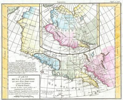 1768 Vaugondy Map Of California And Alaska Art Print by Paul Fearn