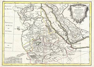 Sudan Red Photograph - 1771 Bonne Map Of Abyssinia Ethiopia Sudan And The Red Sea by Paul Fearn