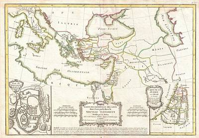 Etc. Egypt Photograph - 1771 Bonne Map Of The New Testament Lands Holy Land And Jerusalem by Paul Fearn
