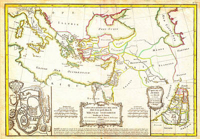 Jerusalem Painting - 1771 Bonne Map Of The New Testament Lands With Holy Land And Jerusalem  by Celestial Images