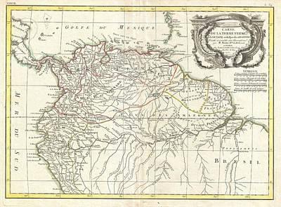 1771 Bonne Map Of Tierra Firma Or Northern South America Art Print