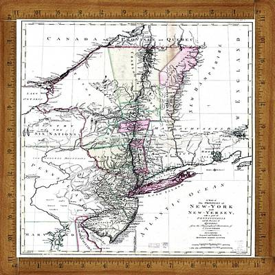 1771 Map Of New York N New Jersey Original by Florene Welebny