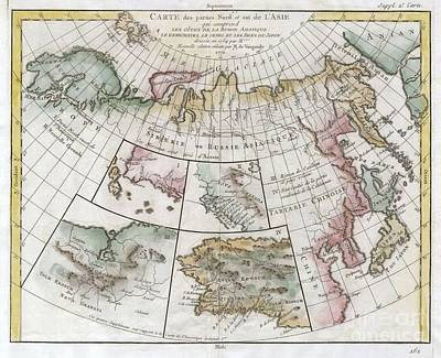 John Donne Photograph - 1772 Vaugondy  Diderot Map Of Asia Alaska And The Northeast Passage by Paul Fearn