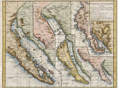 1772 Vaugondy  Diderot Map Of California In Five States California As Island Art Print by Paul Fearn