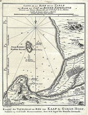 On Paper Photograph - 1773 Bellin Map Of The Cape Of Good Hope Capetown South Africa by Paul Fearn
