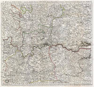 Dots And Lines Photograph - 1773 Kitchin Map Of The Country 30 Miles Around London by Paul Fearn