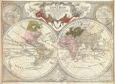 1775 Lotter Map Of The World On A Hemisphere Projection Print by Paul Fearn