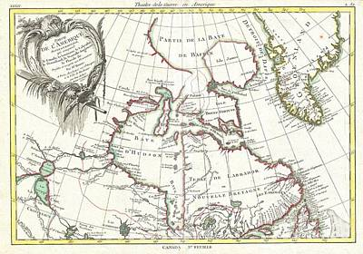 Dots And Lines Photograph - 1776 Bonne Map Of The Hudson Bay Canada by Paul Fearn